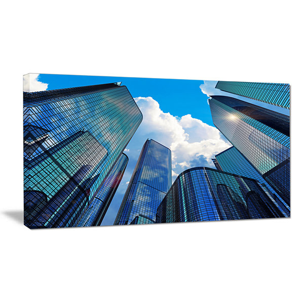 Designart Elevated Business Buildings Cityscape Canvas Art Print