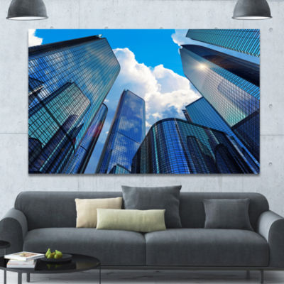 Designart Elevated Business Buildings Cityscape Canvas Art Print - 3 Panels