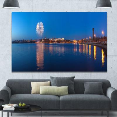 Designart Embankment Of City Panorama Cityscape Canvas Art Print