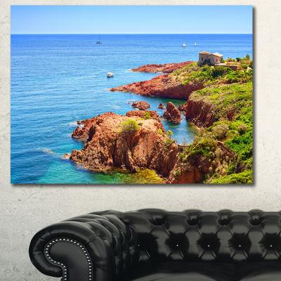 Designart Esterel Rocks Beach Coast Landscape Canvas Art Print