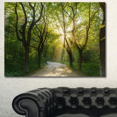 Designart Evening In Green Forest Landscape CanvasArt Print - 3 Panels