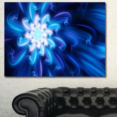 Designart Exotic Blue Flower Dance Of Petals Floral Canvas Art Print - 3 Panels
