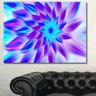 Designart Exotic Blue Flower Petals Floral CanvasArt Print - 3 Panels
