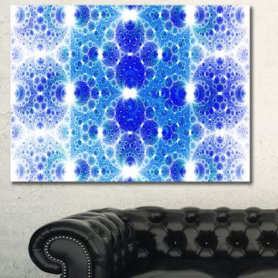 Designart Exotic Blue Fractal Crescent Pattern Abstract Art On Canvas