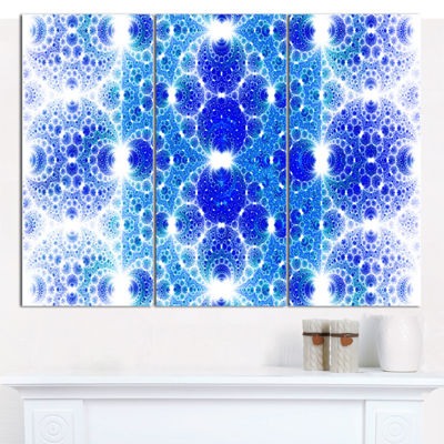Designart Exotic Blue Fractal Crescent Pattern Abstract Art On Canvas - 3 Panels