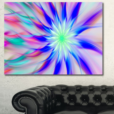 Designart Exotic Blue Fractal Spiral Flower Abstract Canvas Art Print