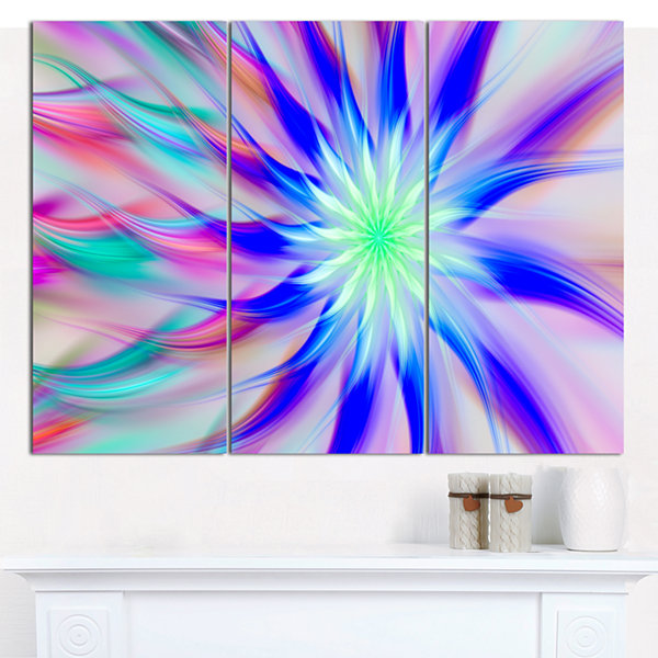 Designart Exotic Blue Fractal Spiral Flower Abstract Canvas Art Print - 3 Panels