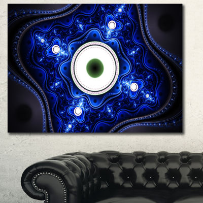 Designart Exotic Blue Pattern With Circles Abstract Canvas Art Print