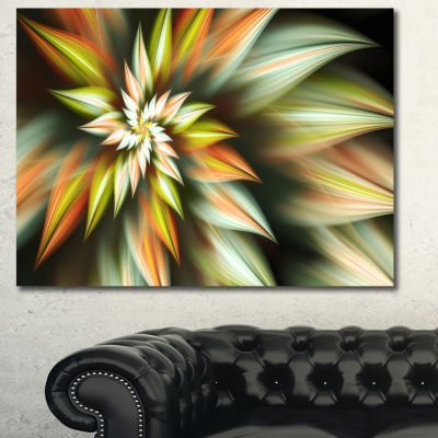 Designart Exotic Brown Fractal Spiral Flower Abstract Canvas Art Print - 3 Panels