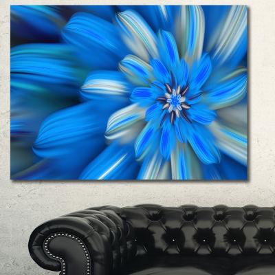 Designart Exotic Dance Of Blue Flower Petals Floral Canvas Art Print - 3 Panels