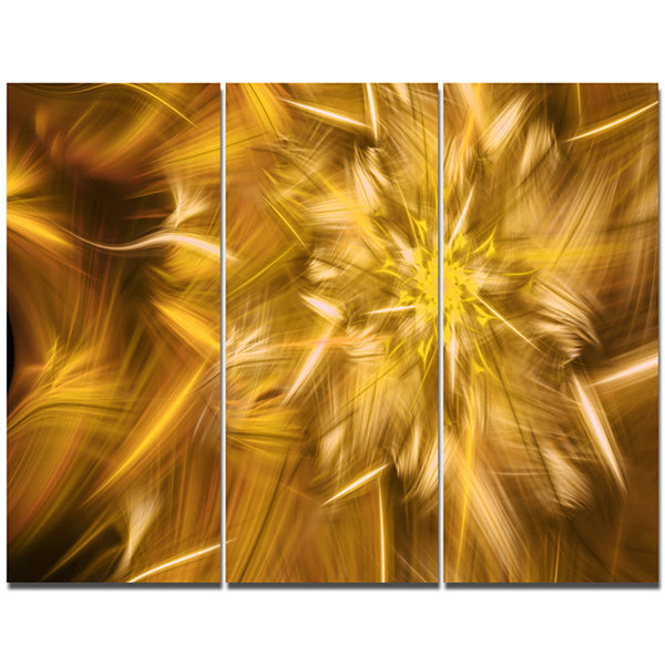 Designart Exotic Dance Of Golden Flower Petals Floral Canvas Art Print - 3 Panels