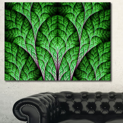Designart Exotic Green Biological Organism Abstract Art On Canvas