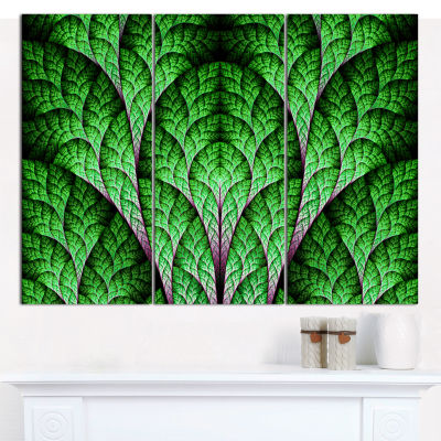 Designart Exotic Green Biological Organism Abstract Art On Canvas - 3 Panels