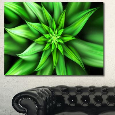 Designart Exotic Green Flower Petals Floral CanvasArt Print