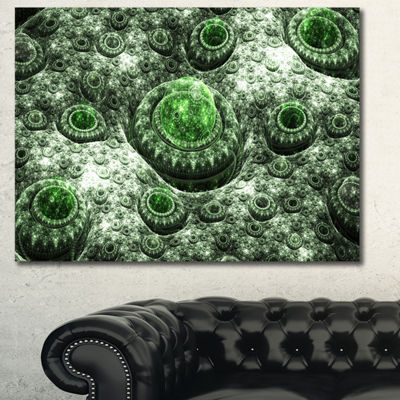 Designart Exotic Green Fractal Landscape AbstractWall Art Canvas - 3 Panels