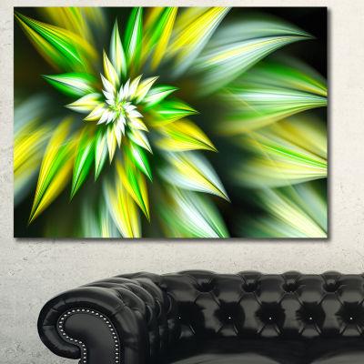 Designart Exotic Green Fractal Spiral Flower Abstract Canvas Art Print - 3 Panels