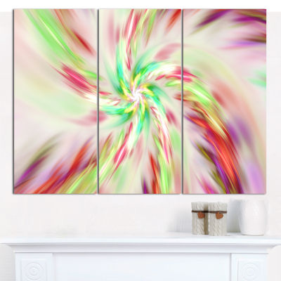 Designart Exotic Multi Color Spiral Flower Abstract Canvas Art Print - 3 Panels