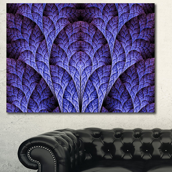Designart Exotic Purple Biological Organism Abstract Art On Canvas - 3 Panels