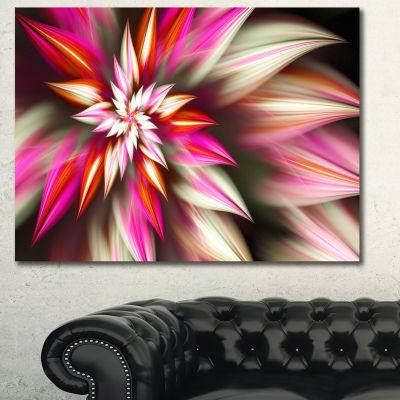 Designart Exotic Red Fractal Spiral Flower Abstract Canvas Art Print