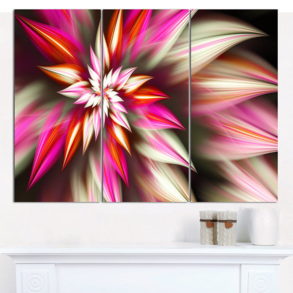 Designart Exotic Red Fractal Spiral Flower Abstract Canvas Art Print - 3 Panels