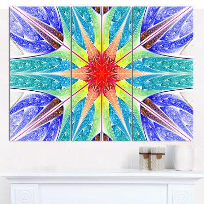 Designart Extraordinary Fractal Blue Design Abstract Canvas Art Print - 3 Panels