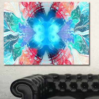 Designart Extraordinary Fractal Blue Texture Abstract Canvas Art Print - 3 Panels