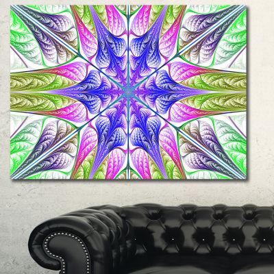 Designart Extraordinary Fractal Light Green Art Abstract Canvas Art Print - 3 Panels