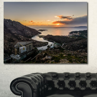 Designart Ezaro Panorama Galicia Spain Landscape Canvas Art Print - 3 Panels