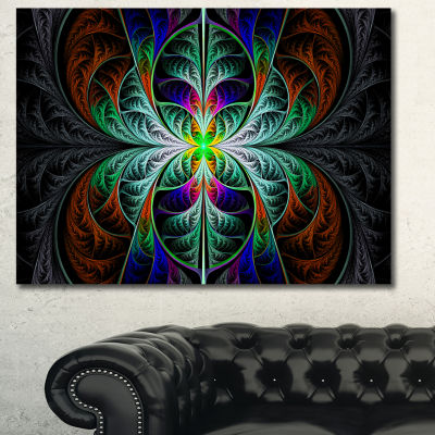 Designart Fabulous Blue Fractal Texture Abstract Canvas Art Print - 3 Panels