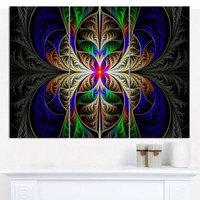 Designart Fabulous Multi Color Fractal Art Abstract Canvas Art Print - 3 Panels