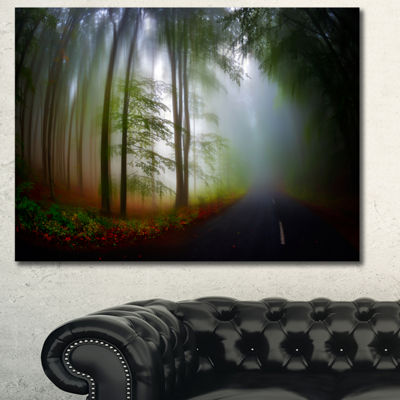 Designart Fall Landscape In The Forest Landscape Canvas Art Print - 3 Panels