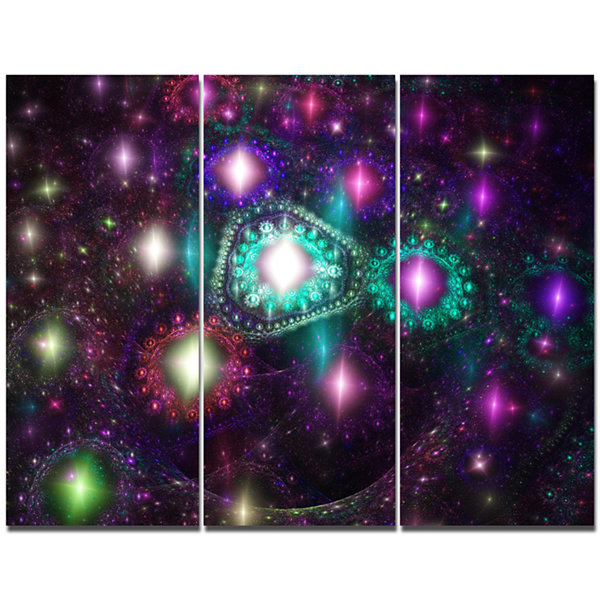 Designart Far Bright Colorful Space Galaxy Abstract Canvas Art Print - 3 Panels