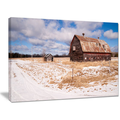 Designart Farm Field Barn Ranch Landscape Canvas Art Print