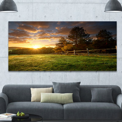 Designart Fenced Ranch At Sunrise Landscape CanvasArt Print