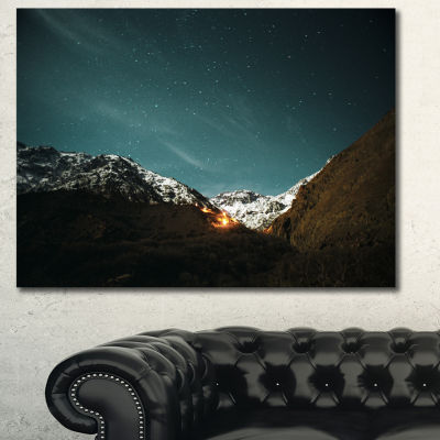Designart Fire In Rugged Mountains Landscape Canvas Art Print - 3 Panels