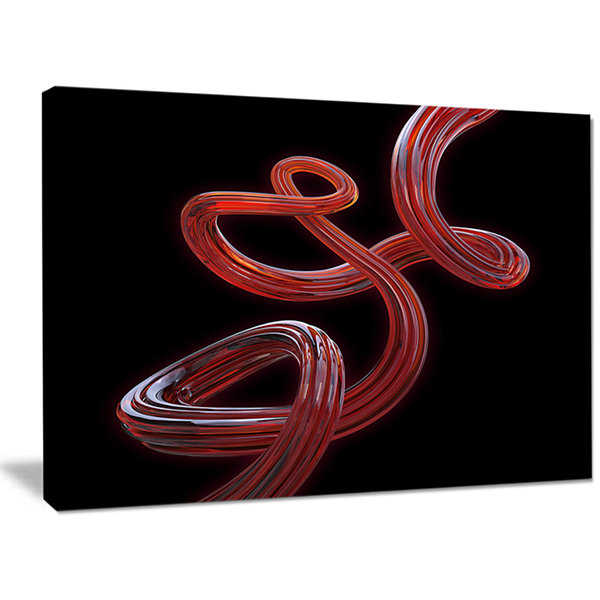 Designart Flexible Caramel Line On Black AbstractCanvas Art Print