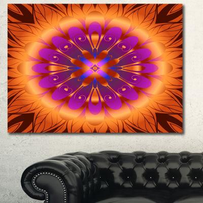 Designart Floral Infinity Design In Orange FloralCanvas Art Print - 3 Panels