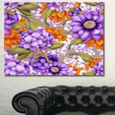 Designart Floral Seamless Pattern Floral Canvas Art Print