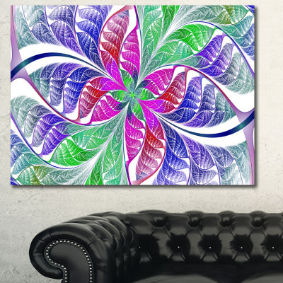 Designart Flower Like Fractal Stained Glass Abstract Wall Art Canvas - 3 Panels