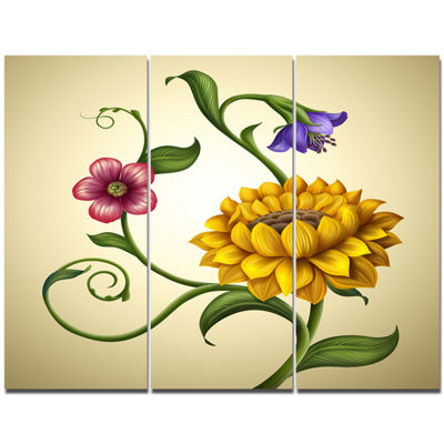 Designart Flowers And Leaves Illustration Floral Canvas Art Print - 3 Panels