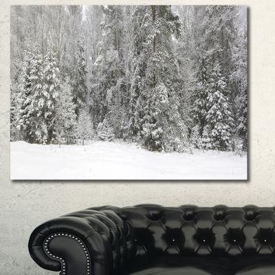 Designart Foggy Winter Forest Panorama Landscape Canvas Art Print - 3 Panels