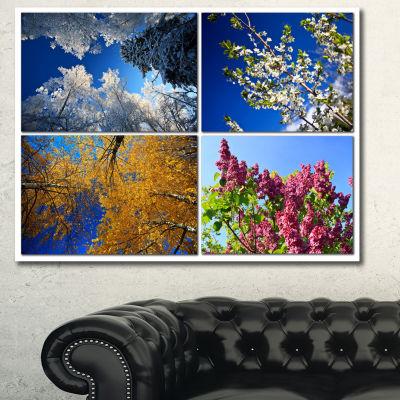 Designart Four Seasons Of Nature Collage LandscapeCanvas Art Print - 3 Panels