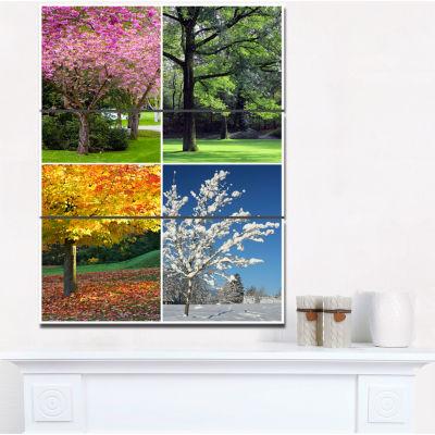 Designart Four Seasons Trees Collage Landscape Canvas Art Print 28X36 3 Panels