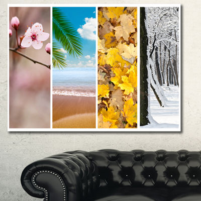 Designart Four Seasons World Collage Landscape Canvas Art Print - 3 Panels