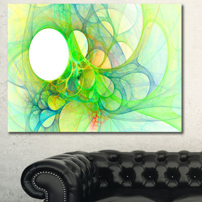Designart Fractal Angel Wings In Green Abstract Wall Art Canvas - 3 Panels