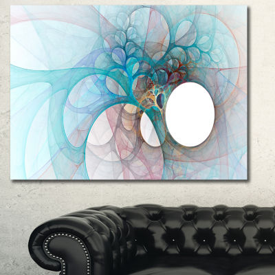 Designart Fractal Angel Wings In Light Blue Abstract Wall Art Canvas