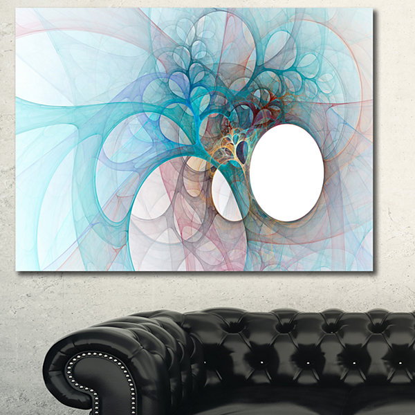 Designart Fractal Angel Wings In Light Blue Abstract Wall Art Canvas - 3 Panels