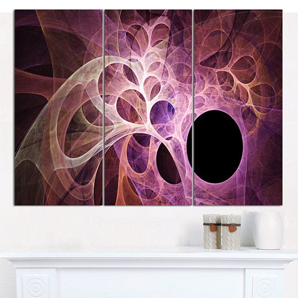 Designart Fractal Angel Wings In Pink Abstract Wall Art Canvas - 3 Panels