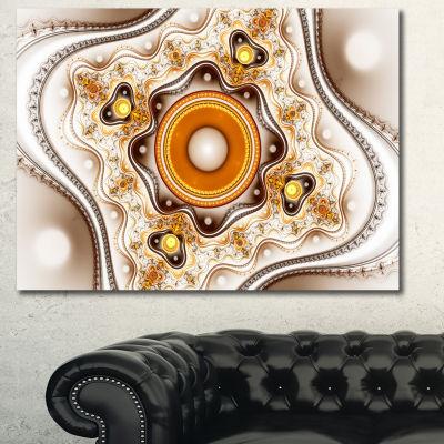 Designart Fractal Circles And Wavy Curves AbstractCanvas Art Print - 3 Panels