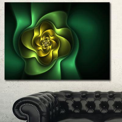 Designart Fractal Green Flower On Black Floral Canvas Art Print
